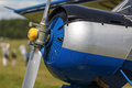 Aircraft fuselage fragment of an with a propeller engine shallow depth of field Stock Images