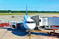 Aircraft at the gate Royalty Free Stock Photography