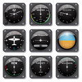 Aircraft gauges set of basic in vector Stock Photos