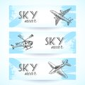 Aircraft icons banners sketch Royalty Free Stock Photo