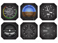 Aircraft instruments set of six avionics eps vector illustration Stock Image