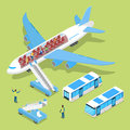 Aircraft Interior with Passengers. Air Plane Boarding. Isometric flat 3d illustration