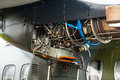 Aircraft jet engine close up view of opened installed in military airplane Stock Photos