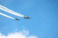 Aircraft military in blue and wihite sky Stock Photo