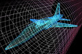 Aircraft model in wind tunnel simulation of an being analyzed for aerodynamic effects on its structure d presentation Stock Photography