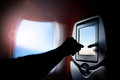 Aircraft monitor the passenger seat. Interior plane. Touch screen. Royalty Free Stock Photo