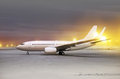 Aircraft at non flying weather white in airport blowing snow Stock Photos