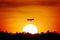Aircraft in the sunset Royalty Free Stock Photo