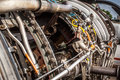 Aircraft turbojet engine closeup photo of Royalty Free Stock Photos