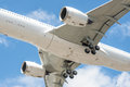 Aircraft undercarriage closeup of a large passenger no visible trademarks Royalty Free Stock Photography