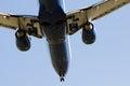 Aircraft undercarriage passenger jet blue sky Stock Image
