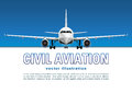 Aircraft vector. Banner, poster, flyer, card from plane against the background of the blue sky and text on a white backdrop