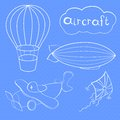 Aircrafts set retro dirigible balloon vector illustration vintage collection Royalty Free Stock Image