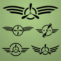 Airforce emblem set abstract black on green background Royalty Free Stock Photos