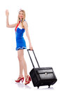 Airhostess luggage white Royalty Free Stock Photography