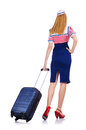 Airhostess luggage white Royalty Free Stock Photos