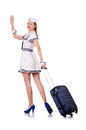Airhostess luggage white Royalty Free Stock Photo