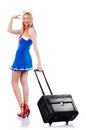 Airhostess with luggage on white Stock Photos