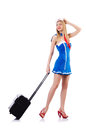 Airhostess with luggage on white Royalty Free Stock Photos