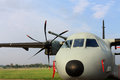 Airlifter military transport turbojet aircraft parked at the airbase Royalty Free Stock Photos