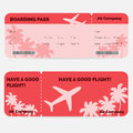 Airline boarding pass. Red ticket isolated on