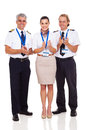 Airline crew applauding group of happy isolated on white Stock Image