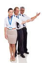 Airline crew presenting group of standing on white background Stock Image