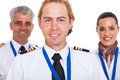 Airline crew smiling first officer with over white background Royalty Free Stock Photos