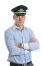Airline pilot handsome on white Royalty Free Stock Photo