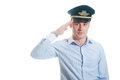 Airline pilot portrait of aa saluting Stock Photography