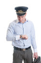 Airline pilot portrait of saluting Royalty Free Stock Image