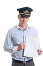 Airline pilot portrait of saluting Royalty Free Stock Images