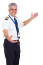 Airline pilot welcome handsome senior gesture on white background Stock Photography