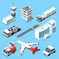 Airline terminal, aero tower, airplane and different support machines of airport