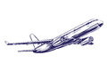 Airliner, aircraft hand drawn vector illustration sketch