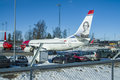 Airliner checked for maintenance place where passenger planes are repaired and maintained image is shot at oslo airport gardermoen Stock Images