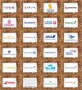 Airlines or airways logos like Qatar, Delta, Emirates, United, KLM, Lufthansa Royalty Free Stock Photo