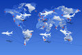 Airlines the world over illustration with and aircraft flying continents Stock Image