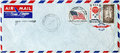Airmail cover from usa postal with set of three stamps printed by shows oil derrick jupiter hot air balloon and us flag circa Royalty Free Stock Photo
