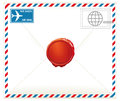 Airmail letter illustration of with red wax seal Stock Image