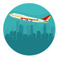 Airplane above the Cityscape. vector
