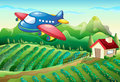 An airplane above the farm with a house illustration of Stock Photo