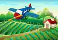 An airplane above the farm illustration of Stock Images
