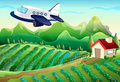 An airplane above the farm illustration of Royalty Free Stock Photos