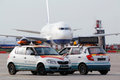 Airplane and airdrome car follow me moscow may at domodedovo airport may moscow russia domodedovo airport largest most modern Stock Image