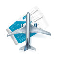 Airplane and airline tickets isolated on white Stock Photos