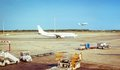 Airplane in airstrip ready to flight and plane Royalty Free Stock Photo
