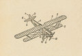Airplane ancient draft on rough paper Royalty Free Stock Images