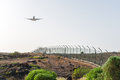 Airplane arriving to the tenerife airport canary islands spain Royalty Free Stock Photography
