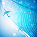 Airplane on blue background Stock Photo